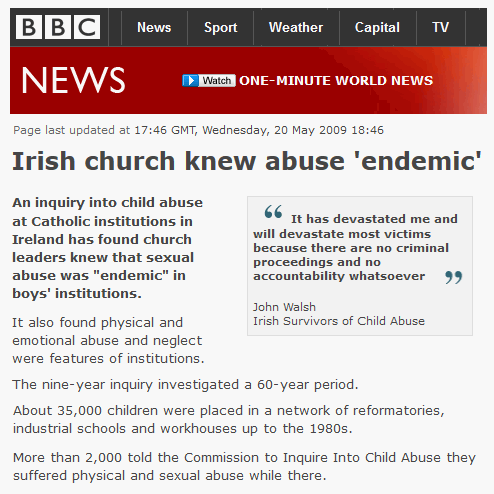 Child abuse report, BBC News
