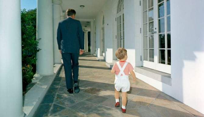 John F. Kennedy with John Jr., White House