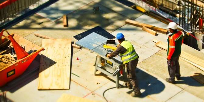 Men at work in construction