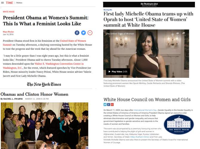 Mainstream media fanfare for 2009 White House Council for Women and Girls